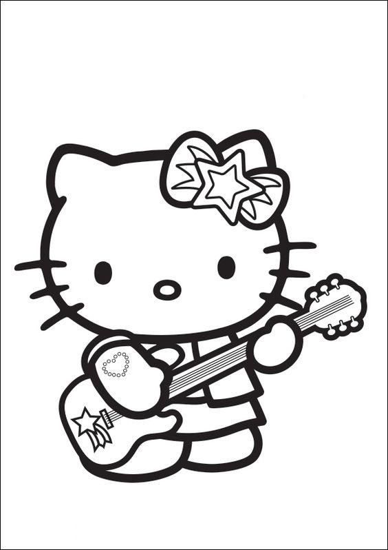 Tranh tô màu mèo hello kitty chơi đàn