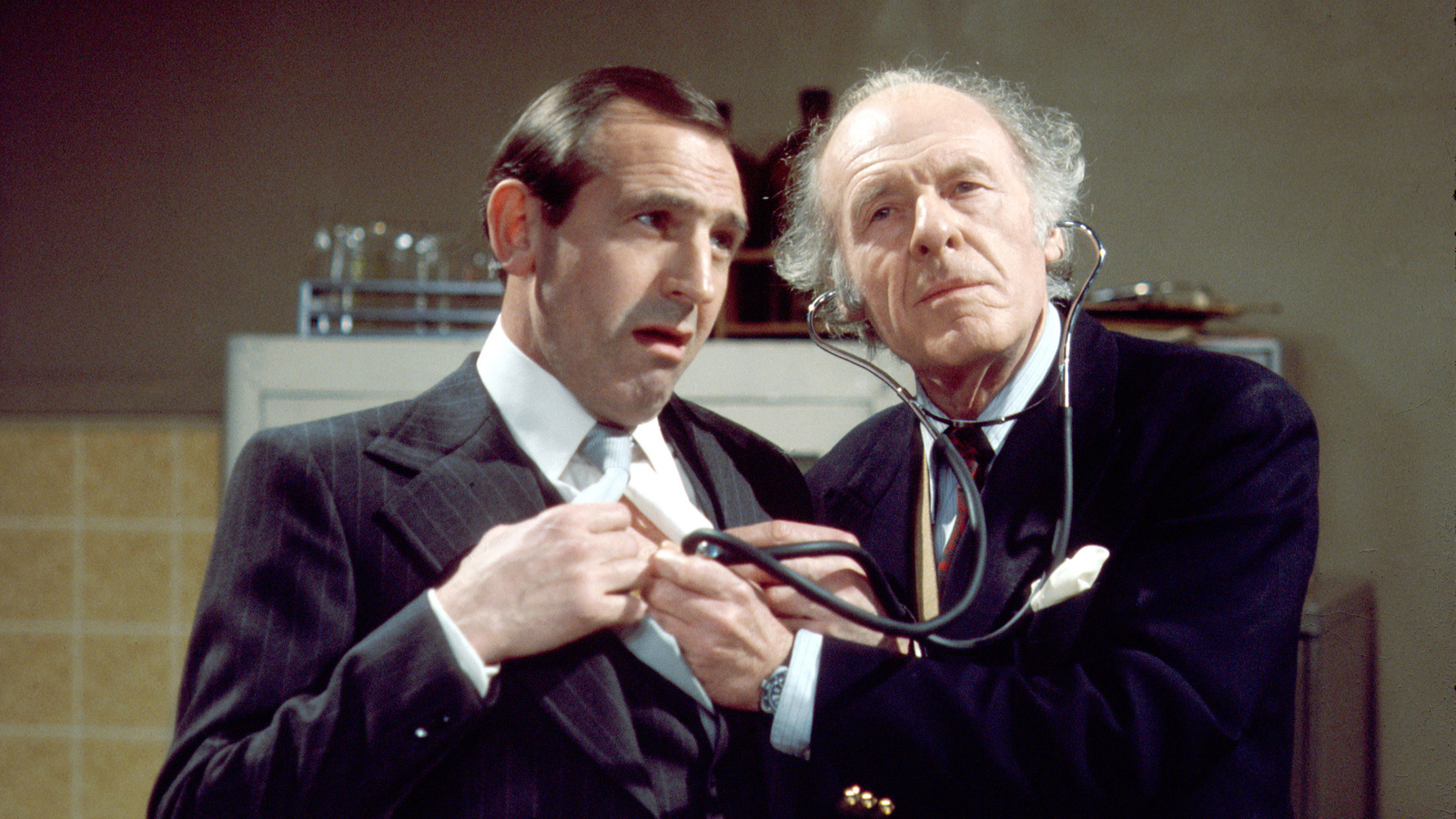 A picture showing Reginald Perrin and Doc Morrissey