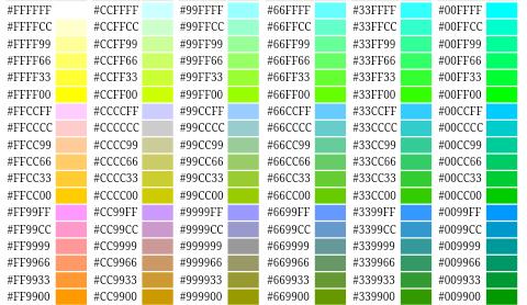 Html renk kodlari