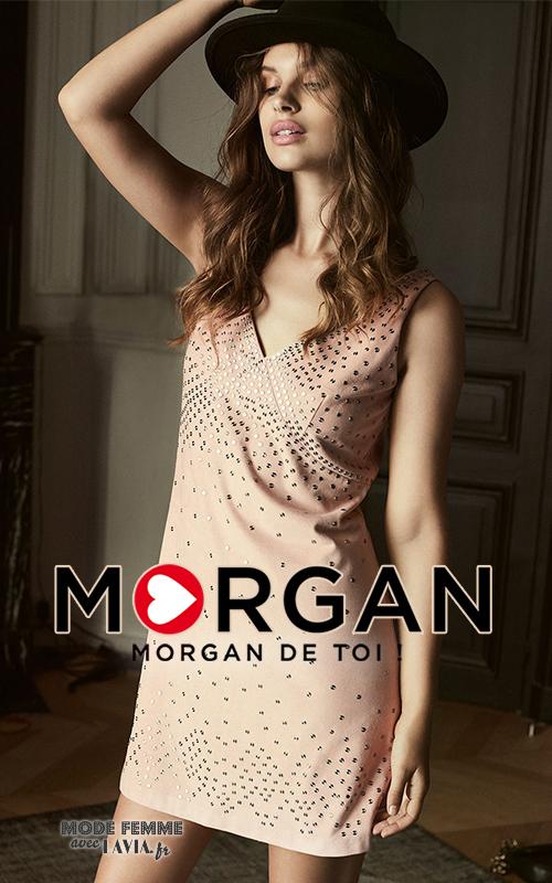 Robe de soirée courte rose nude Morgan