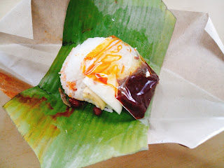 Open it up and you get fragrant Nasi Lemak + Sambal
