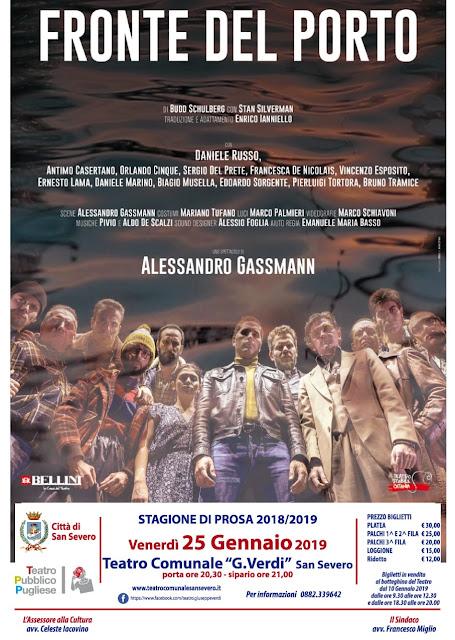 """Venerdì 25 gennaio al Teatro Verdi """"FRONTE DEL PORTO"""" con la regia di Alessandro Gassmann."""