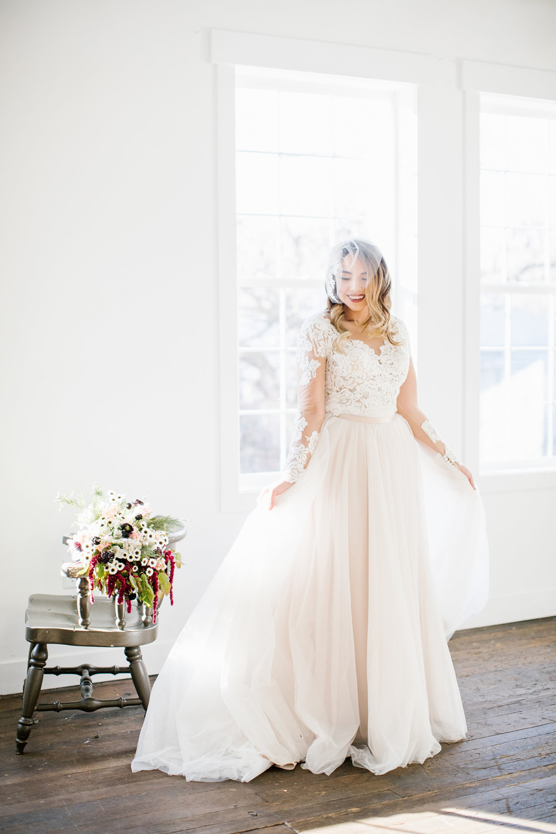 two piece wedding dress, wedding florals, white dress