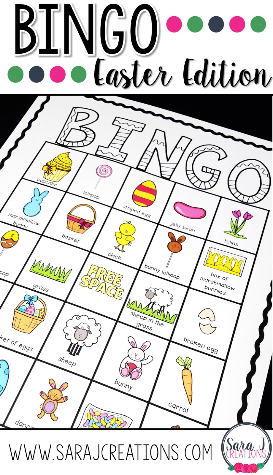 Easter bingo printable cards make an easy print and go activity for the classroom.  30 different cards to choose from so that everyone has a unique board.