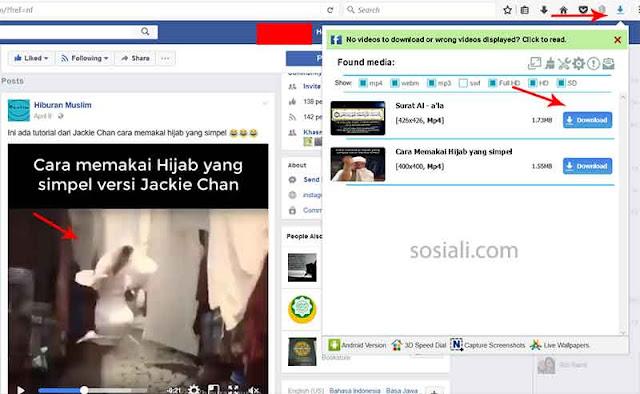 Simpan video dari facebook di mozilla firefox