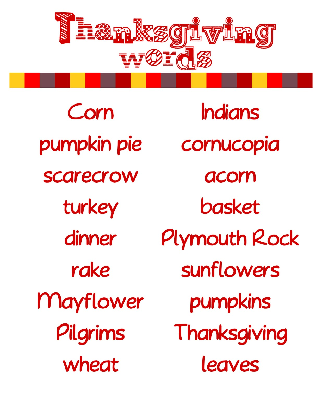 Teaching Instyle Thanksgiving Writings