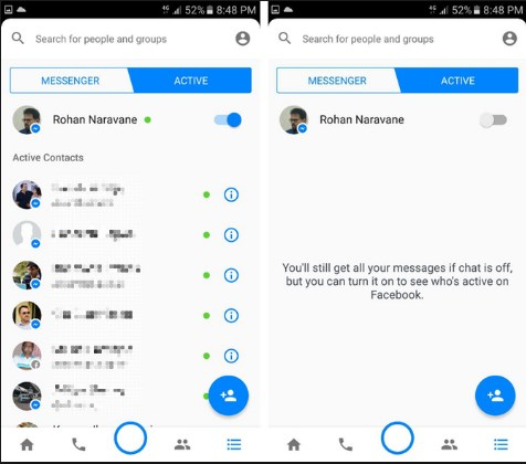 facebook messenger online status android
