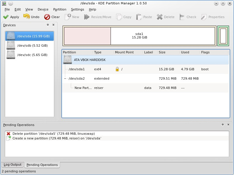 KDE Partition Manager Filesystems criptografados com LUKS