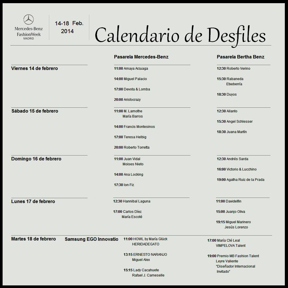 CALENDARIO Mercedes-Benz Fashion Week Madrid - #MBFWM
