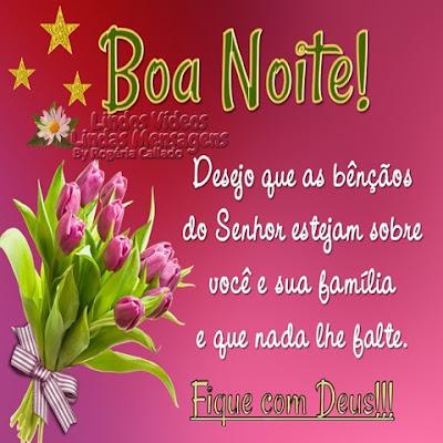 Boa noite! Desejo que as bênçãos do Senhor estejam sobre  você e sua família  e que nada lhe falte. Fique com Deus!