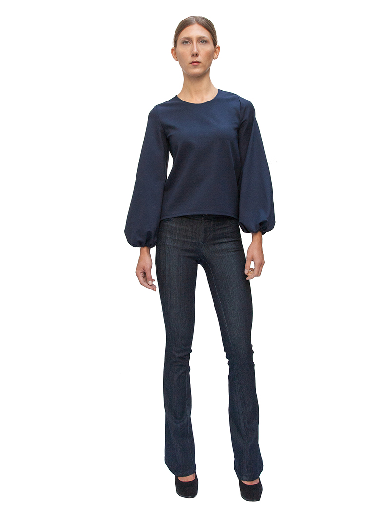 flared jeans, jeans, couture, alyssa nicole, alyssa nicole fall 2014, navy blouse, bell sleeve blouse, san francisco fashion, sf style