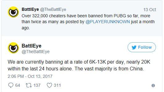 Over 322,000 Cheaters in PlayerUnknown's Battleground Get banned