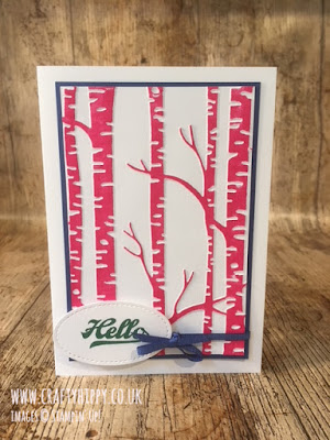 This picture shows a handmade card created with the Woodland Textured Impressions Embossing Folder and Melon Mambo ink both by Stampin' Up!