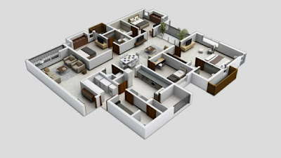 four bedroom house plan - 3D floor plans