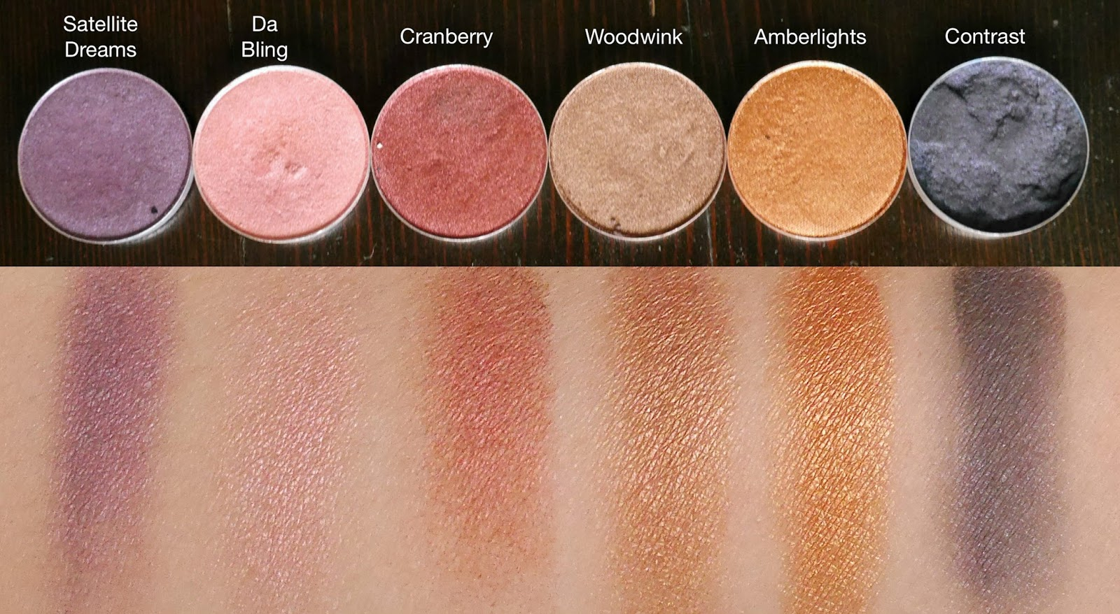 MAC Satellite Dreams, Da Bling, Cranberry, Woodwink, Amberlights, And  Contrast Swatches