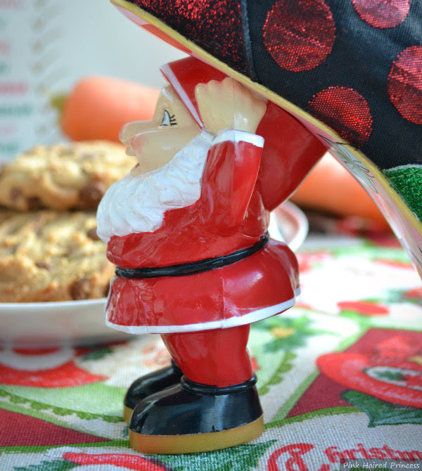 close up of Santa Father Christmas heel on shoe