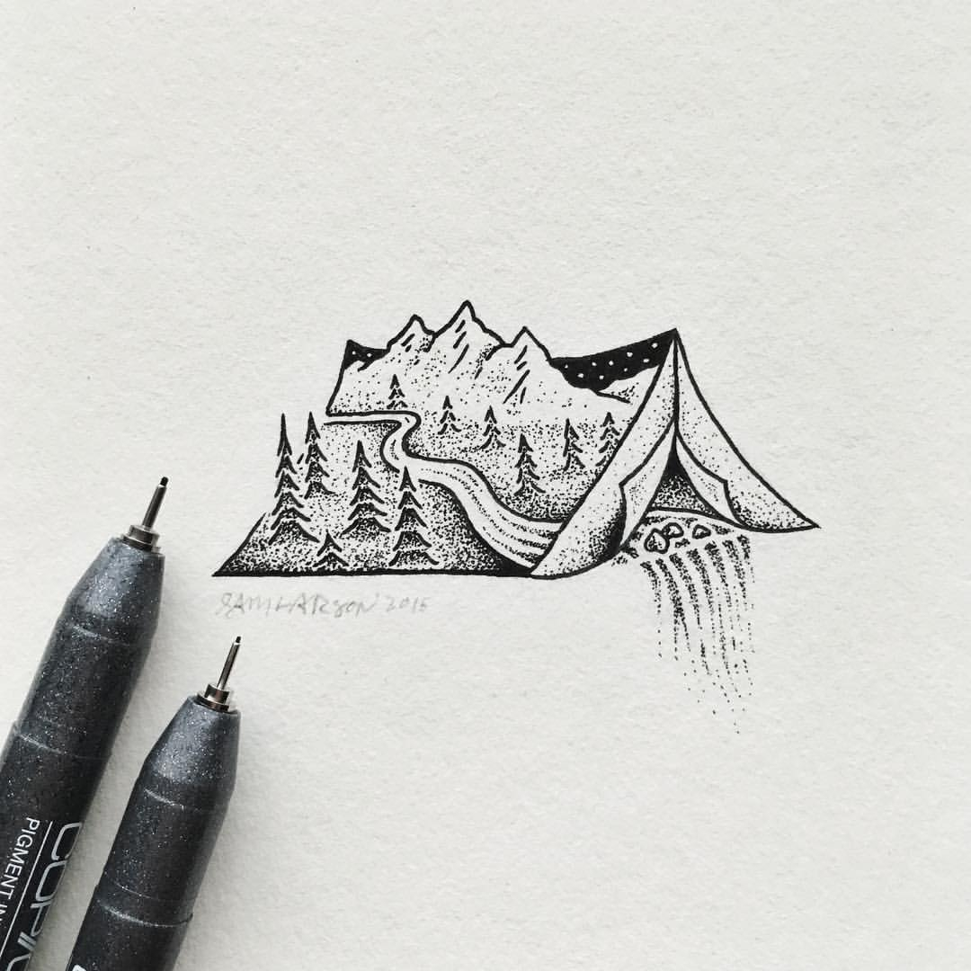 19-Tent-Waterfall-Sam-Larson-Injection-of-Inspiration-in-Diverse-Drawings-www-designstack-co