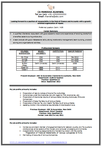 resume format ms office