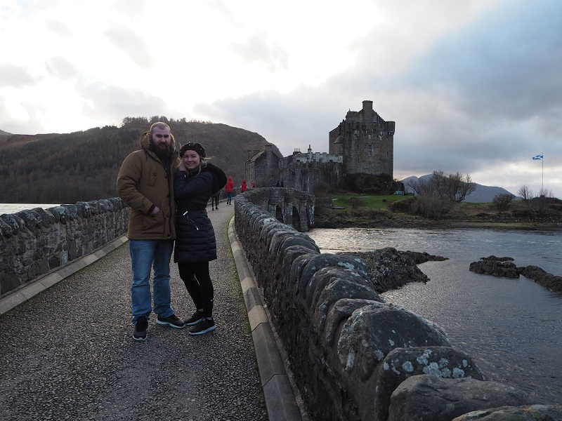 Us on the bridge at Eilean Donan Castle