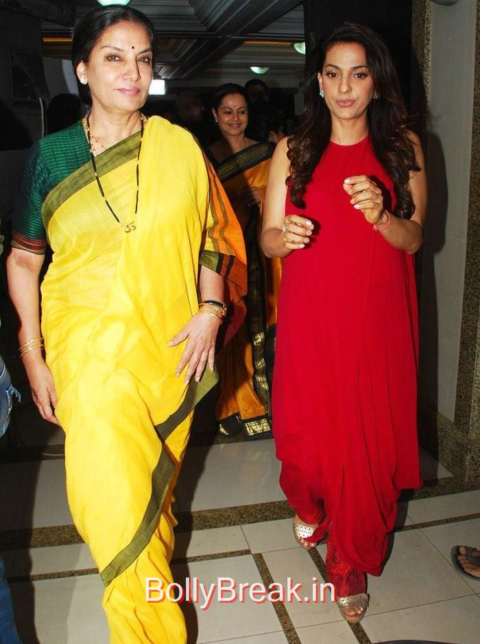 Shabana Azmi, Juhi Chawla, Hot HD Images of Juhi Chawla Upsasana Singh at 'Chalk N Duster' Mahurat