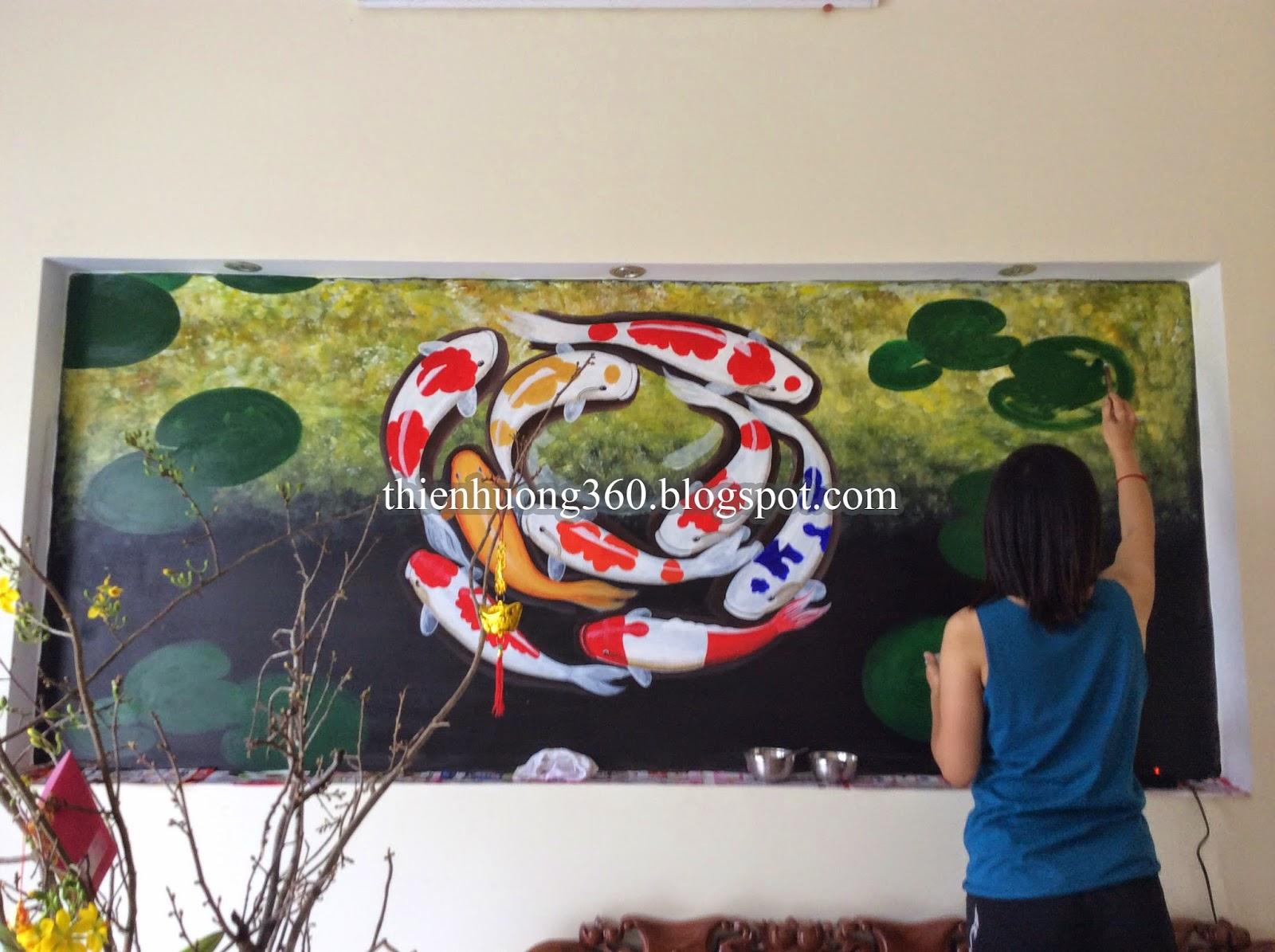 Vẽ bức Cá chép và hoa sen