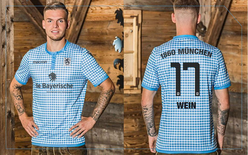 Defender Daniel Wein models 1860 Munich's Oktoberfest-themed kit