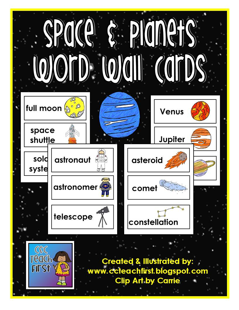 Word On Wall Decor Living Room: Clip Art By Carrie Teaching First: Space Word Wall
