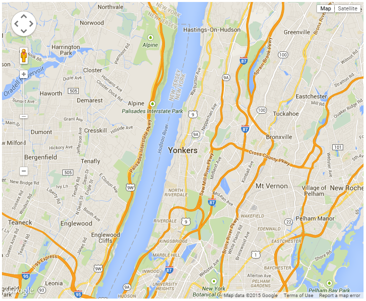 road map of Yonkers