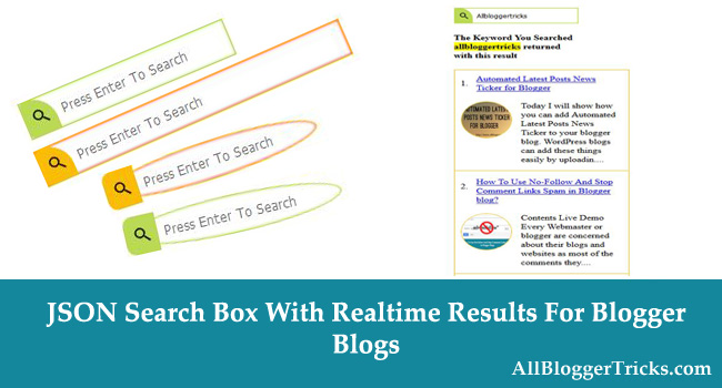 JSON Search Box Widget show real-time results for blogger blogs