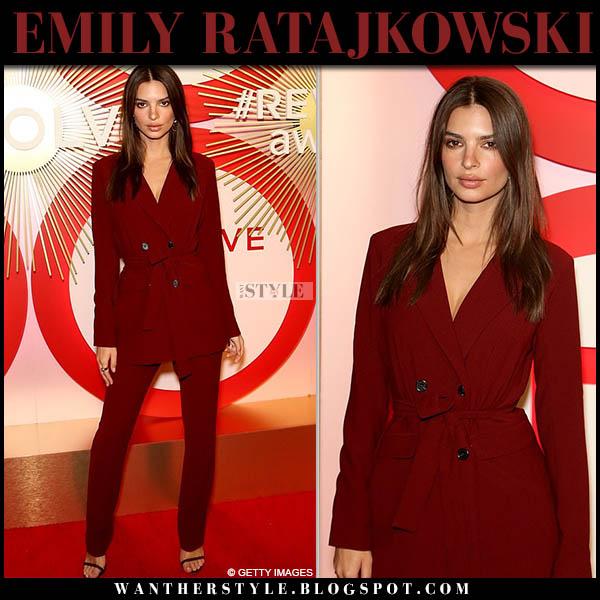 Emily Ratajkowski in burgundy pantsuit l'academie model style november 9