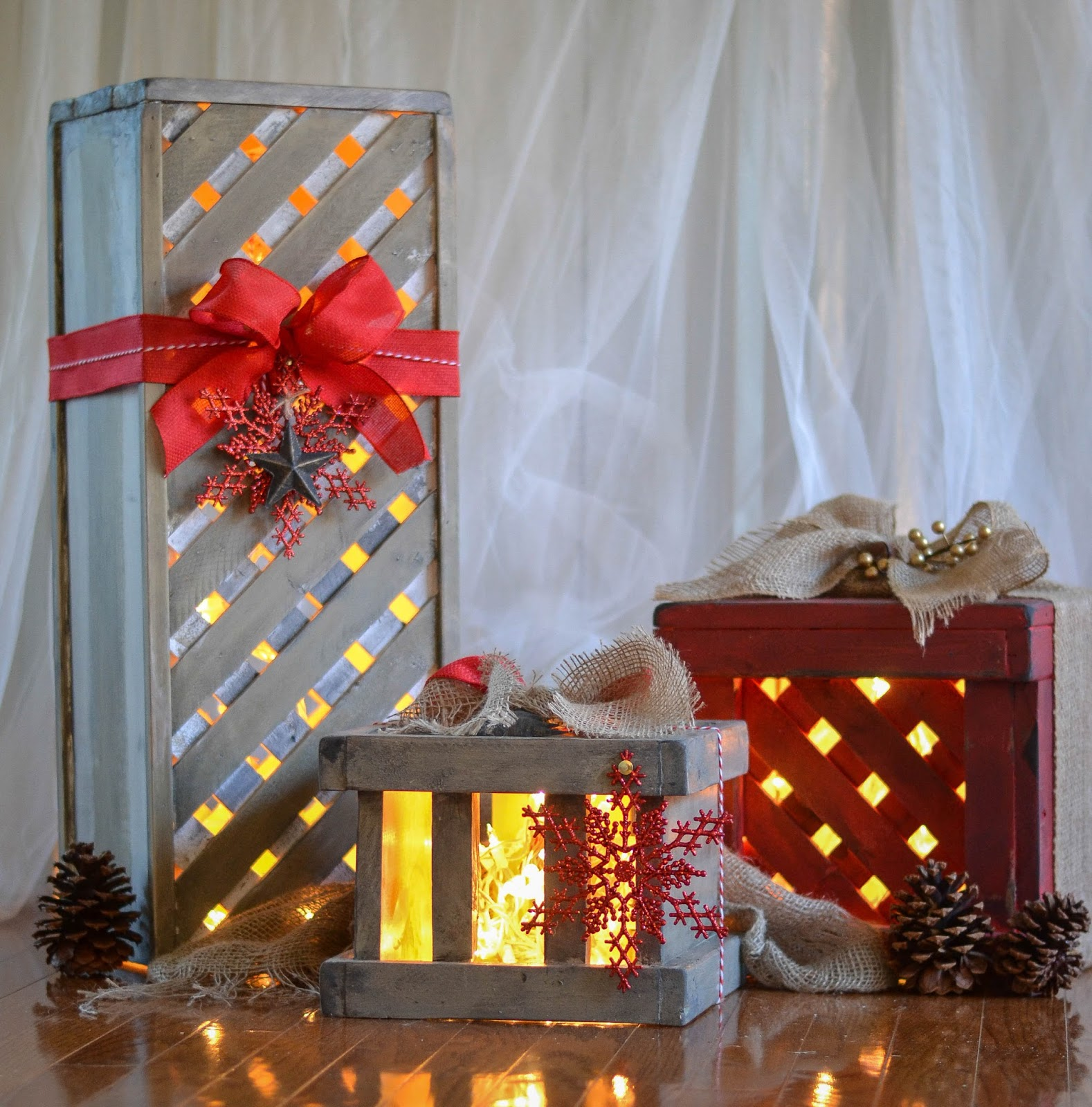 make wooden christmas gift box decor - Wooden Box Christmas Decorations