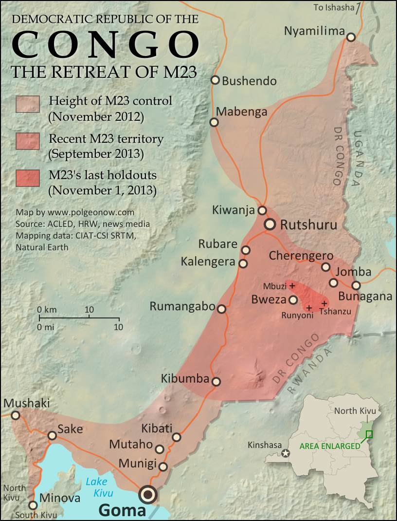 Historical M23 Control Map: Map of territory controlled by the March 23 Movement (M23) rebels in the Democratic Republic of the Congo, both at their height in late 2012 and during their retreat in 2013. Also file under: What happened to M23?