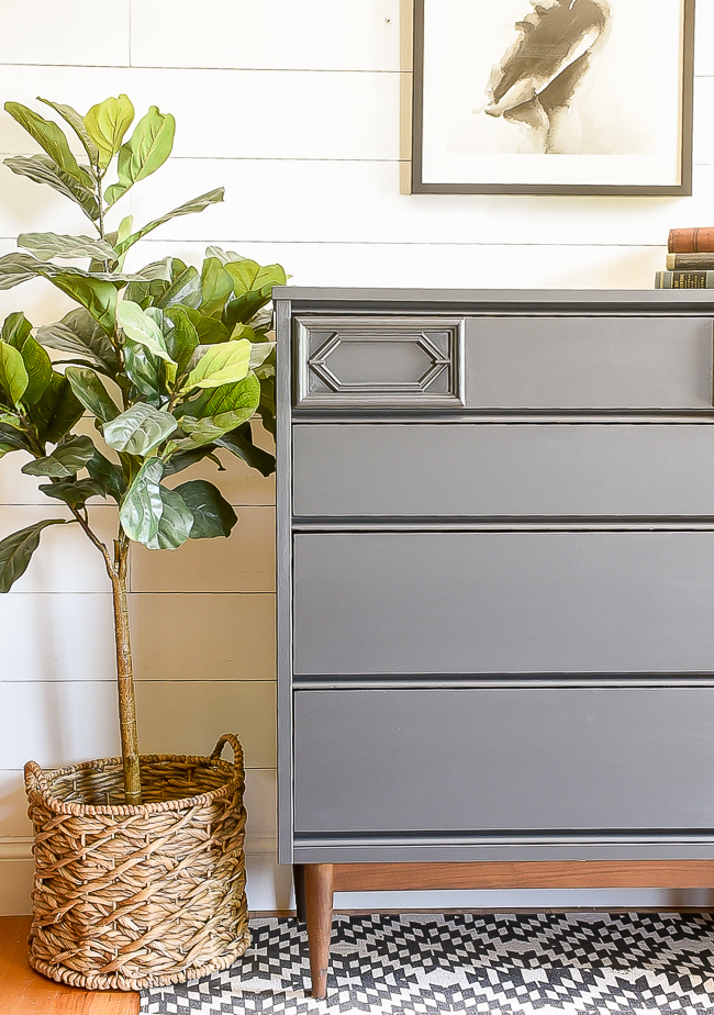 Painted MCM dresser makeover