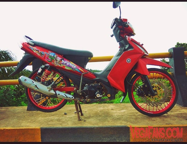 Vega RR Merah Modif Simple Velg Merah