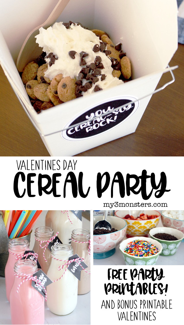 Treat all your cereal-sly cool friends to a Valentines Day Cereal Party using these tips and free printables from my3monsters.com !