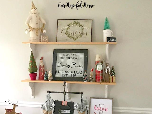 DIY shelves Christmas decor snowman reindeer santa bottle brush