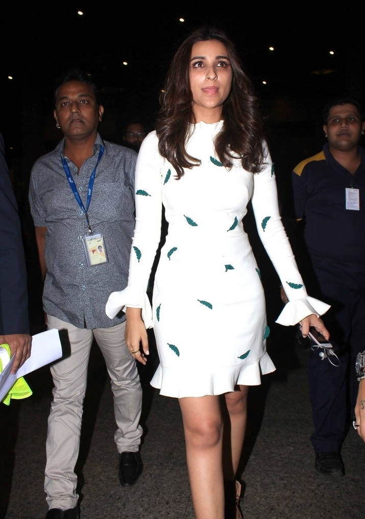 Parineeti Chopra Long Legs Show Photos In White Mini Skirt At Mumbai Airport