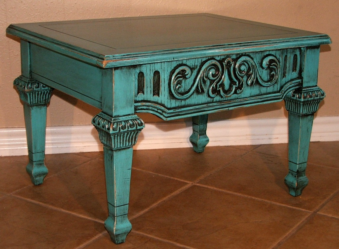 Gentil SOLD: This Small End Table Has Lots Of Great Detail. Painted Turquoise And  Distressed, With Detail Accentuated With Heavy Black Glaze.