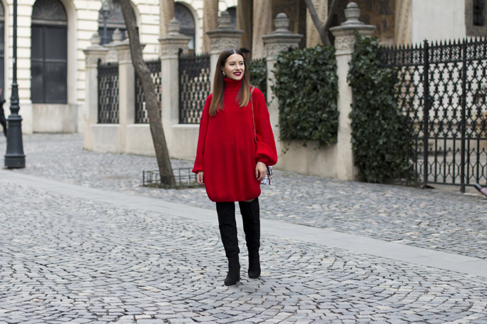 adina nanes red sweater dress street style