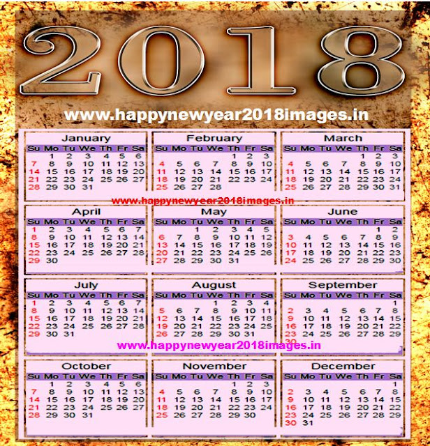 new year 2018 calendar