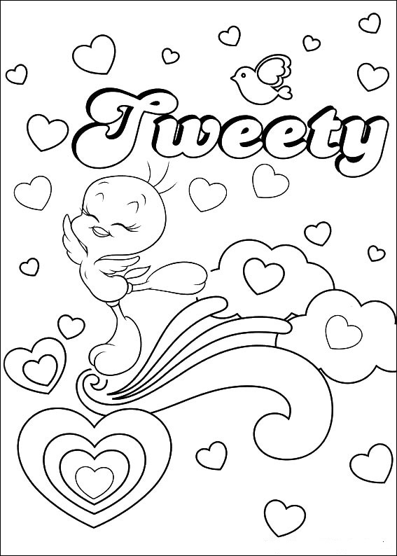Nerdy tweety bird coloring pages coloring pages for Tweety bird christmas coloring pages