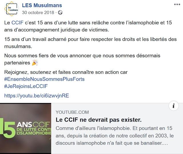 """Le CCIF et la plateforme """"L.e.s Musulmans"""" ont  officialisés leur rapprochement le 30 octobre 2018."""