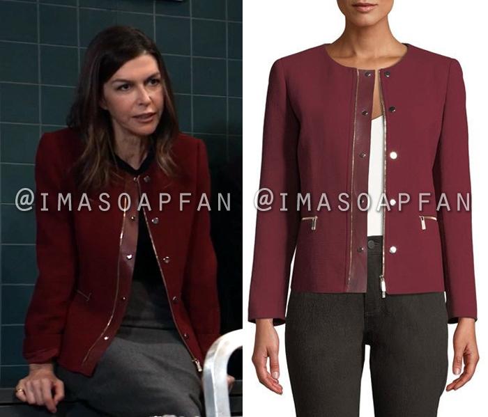 Anna Devane, Finola Hughes, Dark Red Jacket with Leather Trim, General Hospital, GH