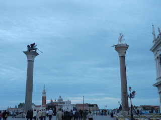 The landmark columns of San Marco and San Todaro at the entrance to the Piazzetta, just off St Mark's Square in Venice