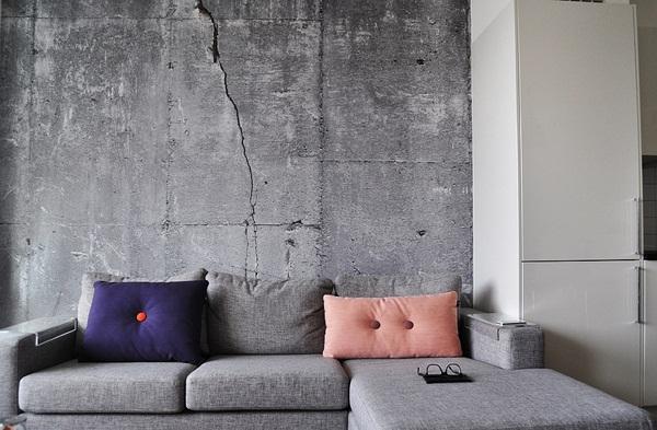 tapet betong fototapet vardagsrum grå