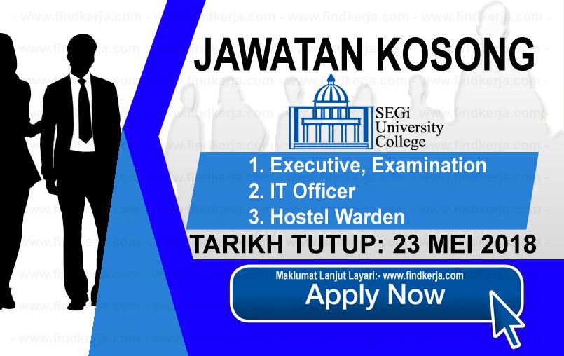 Jawatan Kerja Kosong SEGi College logo www.findkerja.com mei 2018