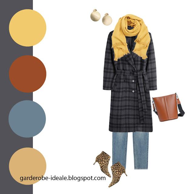 Сочетание серого пальто в клетку с желтым шарфом и леопардовыми ботильонами