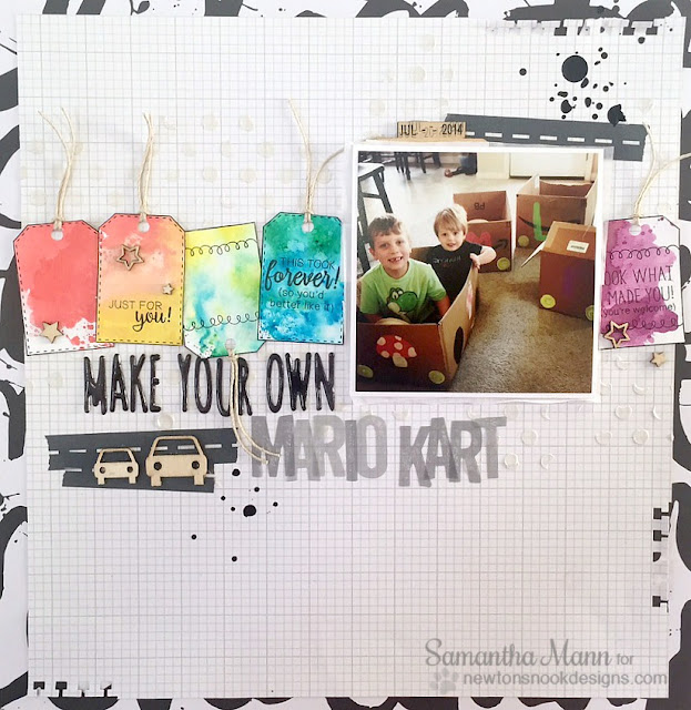 Mario Kart Tag Scrapbook Page by Samantha Mann   Tag Sampler stamp set by Newton's Nook Designs #newtonsnook