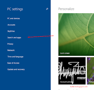 Search Apps di windows 8