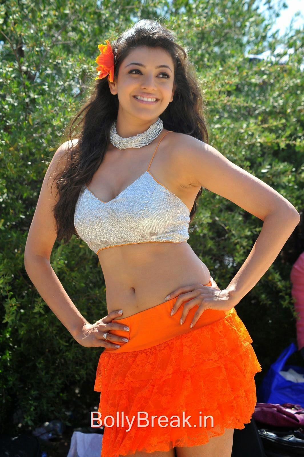 Kajal agarwal hot pics in mini skirt dress hd navel images from song